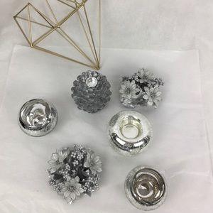 6 PC Silver Candle Holder & Wreath Bundle